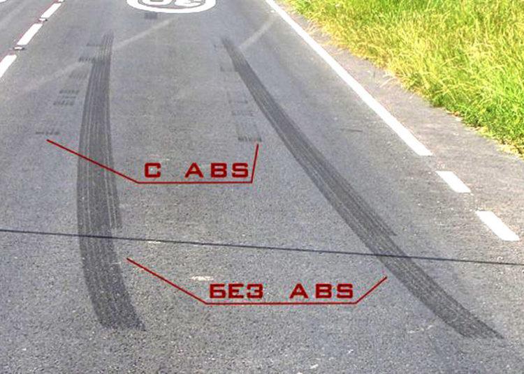 Тормозной путь авто с АБС и без