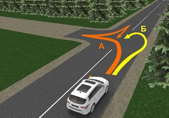 Разворот авто на трассе