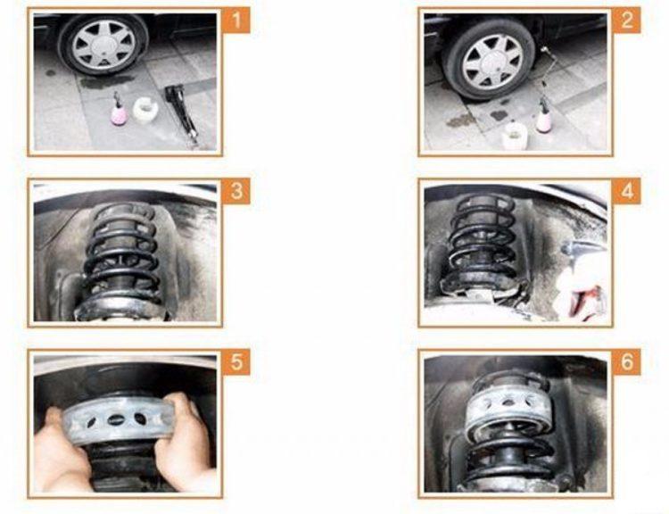 Этапы установки автобаферов-проставок