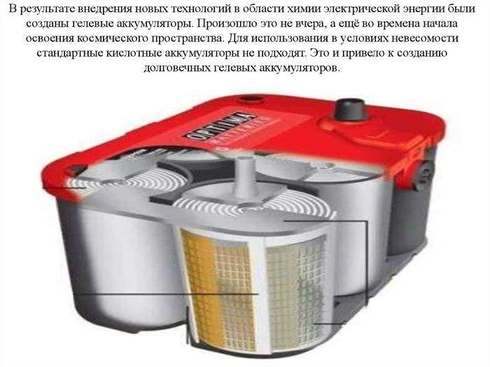 Гелевая батарея авто под корпусом