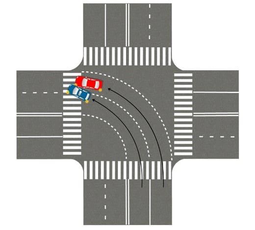 ДТП при попроте налево с правого ряда