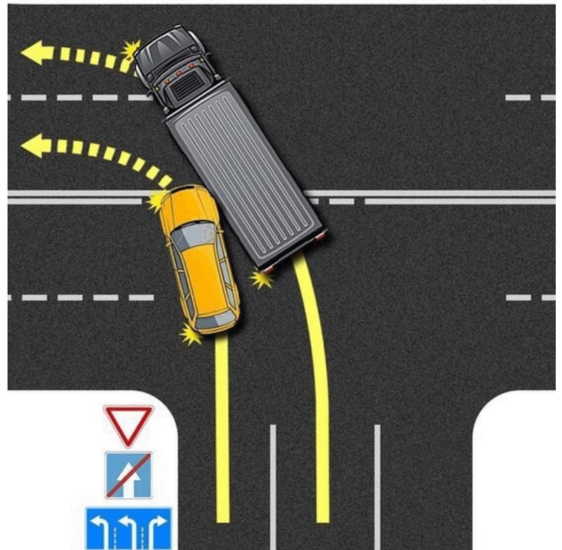 ДТП при повороте налево с левого ряда