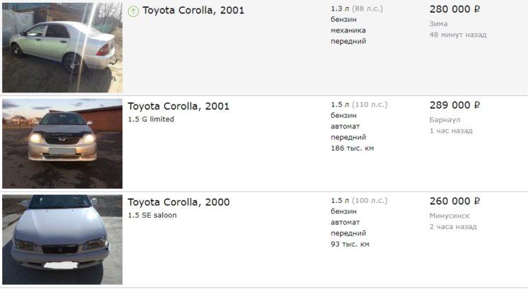 Цены подержанной Toyota Corolla