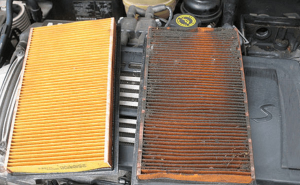 Чистый и засоренный фильтр авто