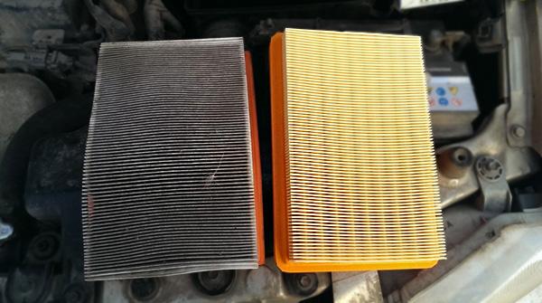 Чистый и грязный воздушный фильтр