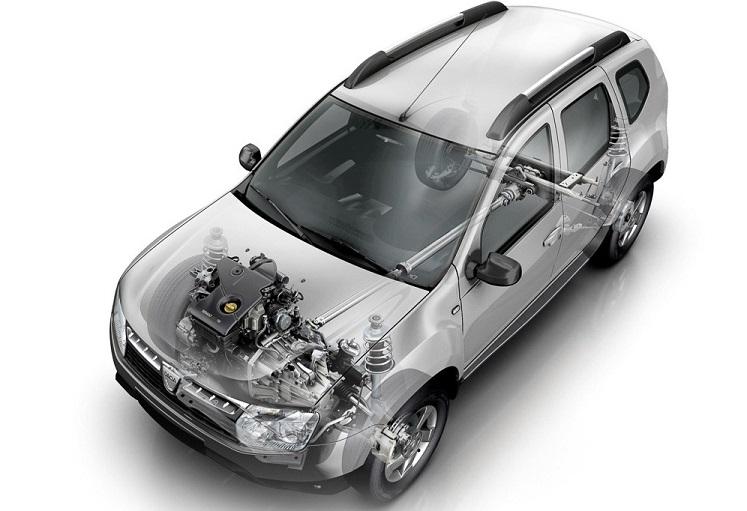 Renault Duster и запчасти под капотом