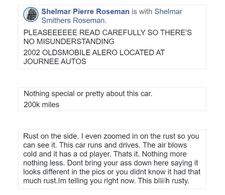 Объявление о продаже авто Роузмана