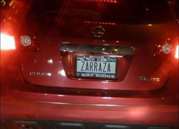 Номер авто в Нью-Йорке ZARRAZA