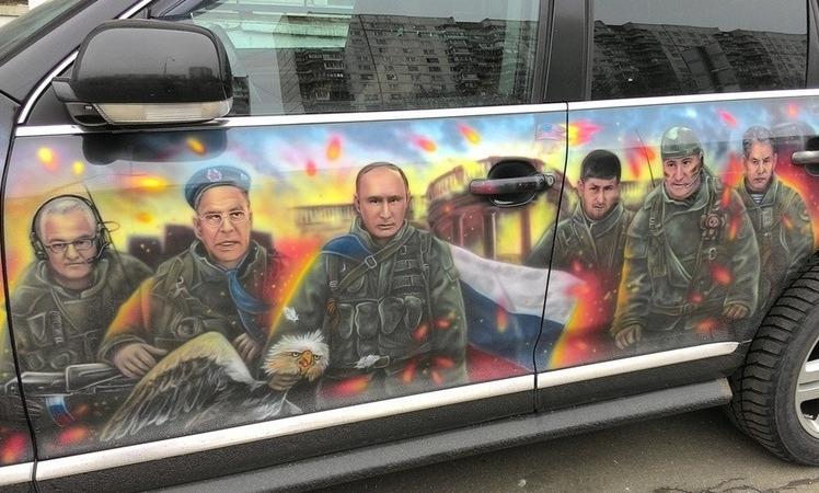 Аэрография на авто с Путиным
