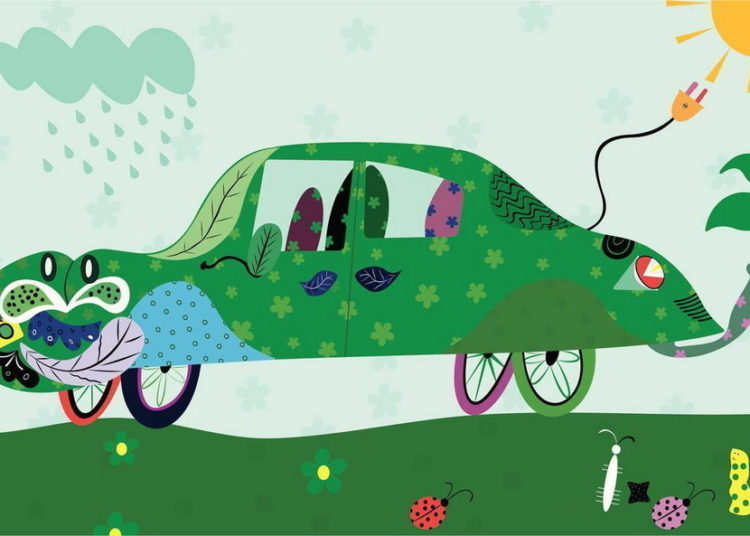 Зеленая машина заряжается от солнца