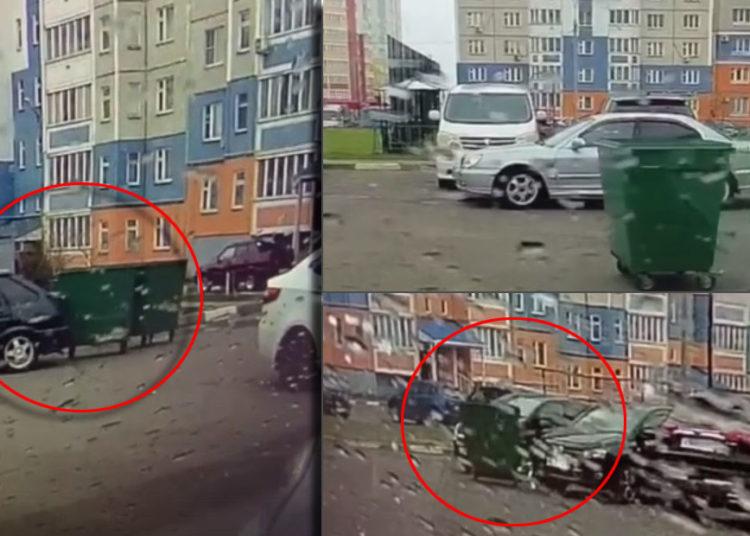 Мусорные контейнеры врезались в авто