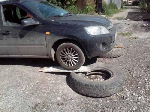 Эстакада из автомобильных шин