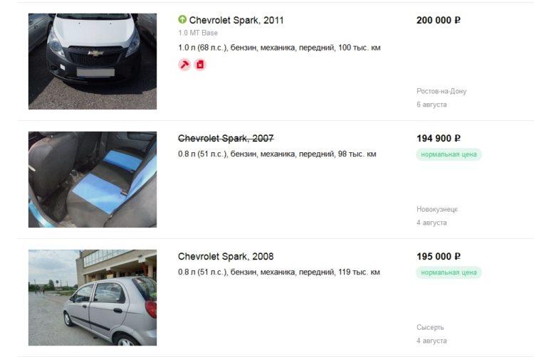 Продажа Chevrolet Spark на сайте