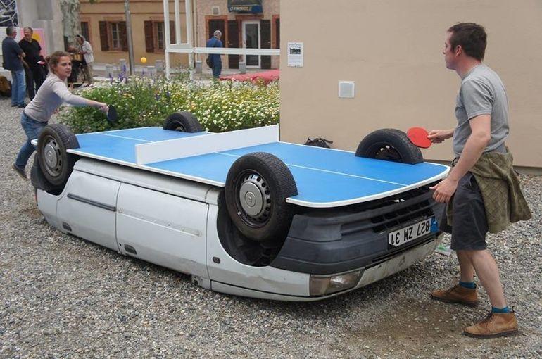 Теннисный стол из автомобиля