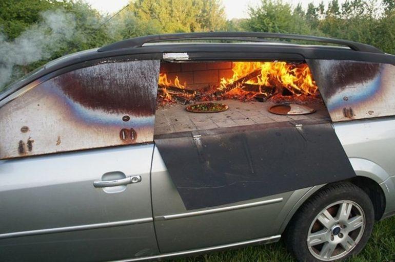Печь из автомобиля