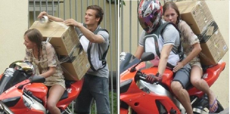Пассажир мотоцикла с большой коробкой