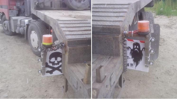 Самодельные страшные знаки на грузовике