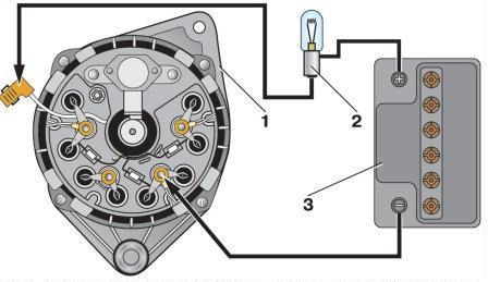 Схема проверки генератора лампочкой