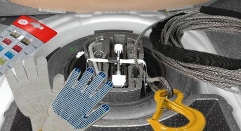 Трос, перчатки и инструменты для авто