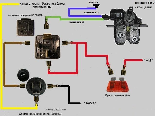 Схема подключения электрического замка багажника