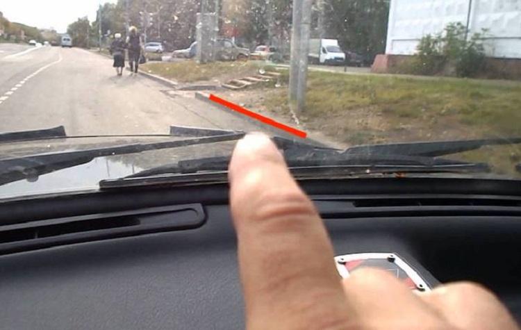 Парковка к бордюру по ветровому стеклу