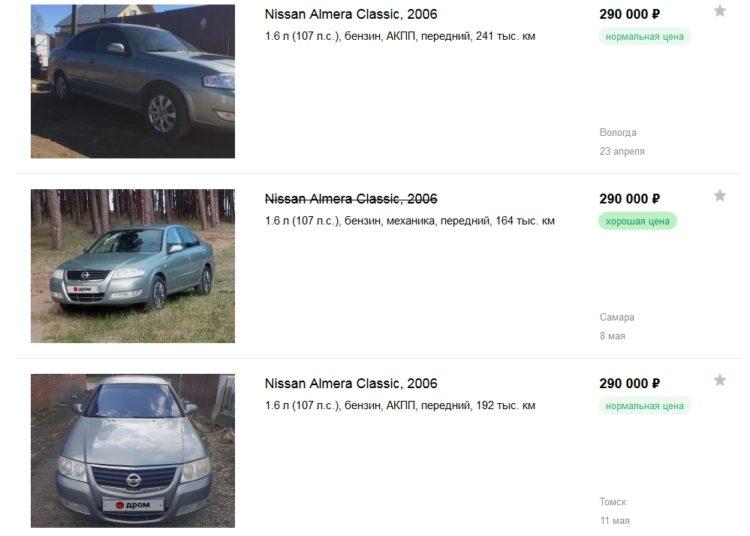 Цены подержанных Nissan Almera Classic