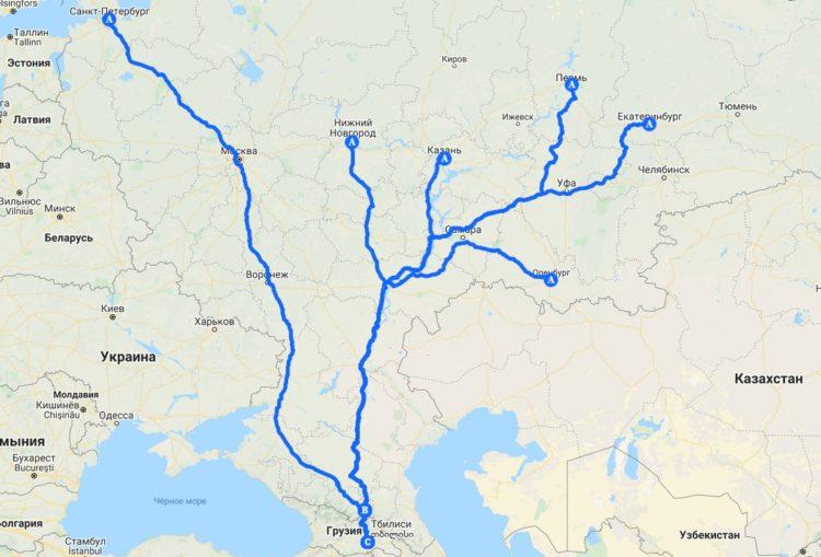 Маршруты на карте из России до Грузии