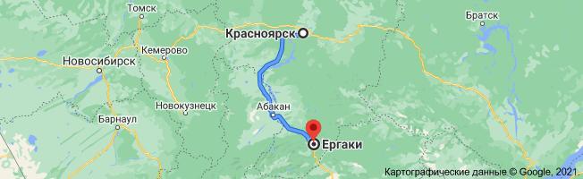 карта как добраться из Красноярска до Ергаки
