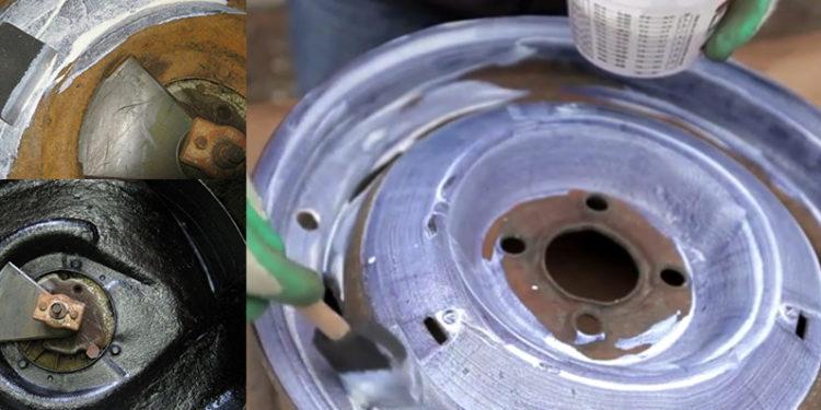 Обработка автомобильного диска преобразователем ржавчины