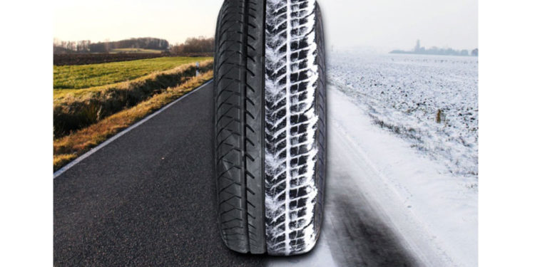 Шина на снежной и осенней дороге